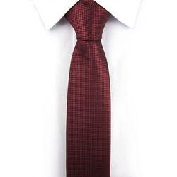 Krawat Męski Lanvino bordowy w delikatną kratkę wąski śledzik G210