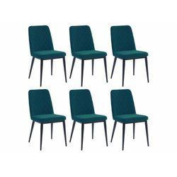 Zestaw 6 krzeseł PILA – pikowane – tkanina i metal – kolor niebieski