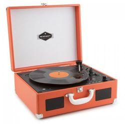 Peggy Sue CD przenośny gramofon retro CD USB SD imitacja skóry pomarańczowy