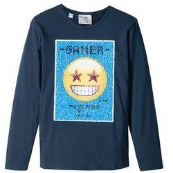 Shirt z długim rękawem i motywem EMOJI z obracanych cekinów bonprix ciemnoniebieski