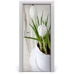 Naklejka samoprzylepna na drzwi Białe krokusy