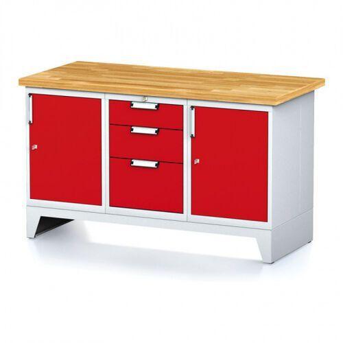 Stoły warsztatowe, Stół warsztatowy MECHANIC, 1500x700x880 mm, 1x 3 szufladowy kontener, 2x szafka, szara/czerwona