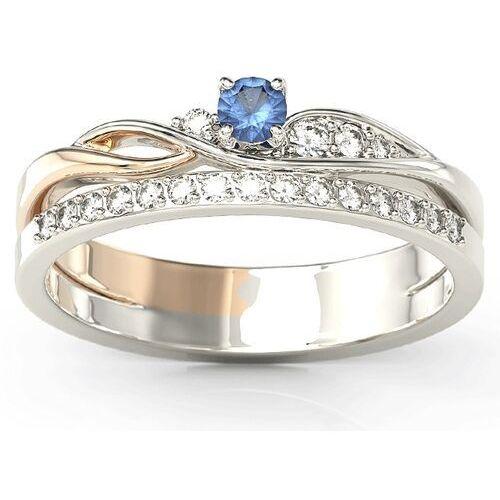 Pierścionki i obrączki, Pierścionek z białego i różowego złota z szafirem i brylantami BP-77BP - Białe i różowe \ Szafir
