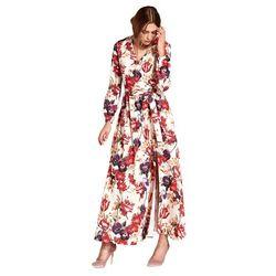 Sukienka maxi z kopertowym dekoltem - kwiaty - S104