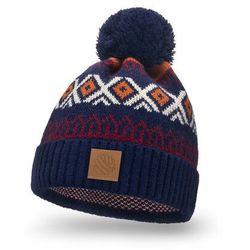 Ciepła czapka zimowa w norweskie wzory PaMaMi - Granatowy