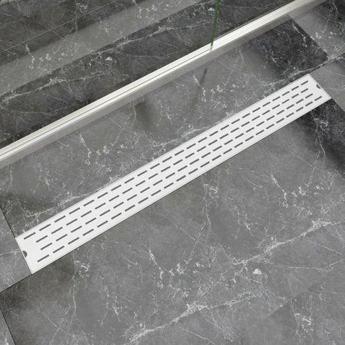 Vidaxl kratka odpływowa, liniowa, 1030x140 mm, wzór linii, stal nierdzewna