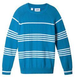 Sweter chłopięcy w paski bonprix lodowy niebieski - biel wełny w paski