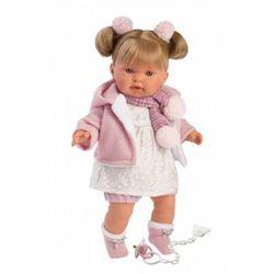 Lalka płacząca Alexandra blondynka szalik w paski 42262 42 cm