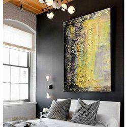 Żółto popielata abstrakcja - Bardzo duży obraz na ścianę plus wydyłka
