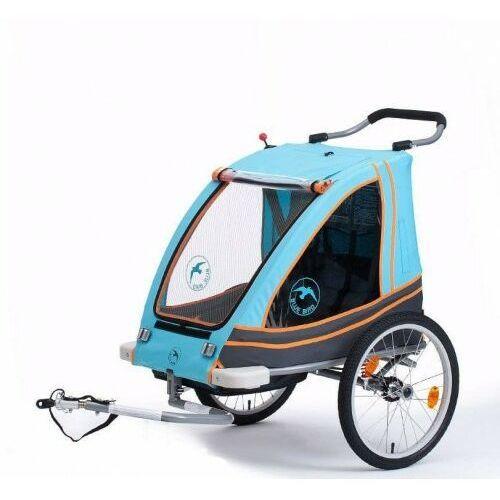 Przyczepki do roweru, Przyczepka rowerowa BLUE BIRD aluminiowa lekka składana dla dzieci 2w1+ wózek pełna amortyzacja