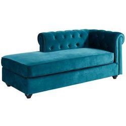 Szezlong prawostronny SHIREL w stylu chesterfield z weluru – kolor niebieski