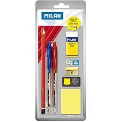 Zestaw Milan: 2 długopisy P1, ołówek grafitowy, gumka 6024, temperówka, karteczki samoprzylepne (BYM80064)
