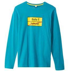 Shirt z długim rękawem i nadrukiem bonprix ciemnoturkusowy z nadrukiem