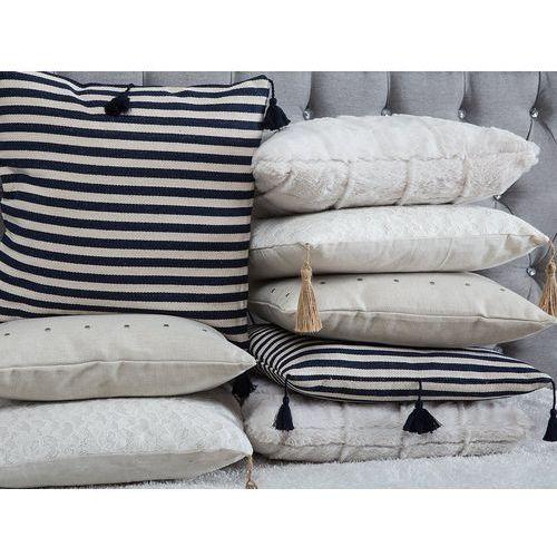 Poduszki, Poduszka dekoracyjna w paski z frędzlami granatowa/biała 45 x 45 cm