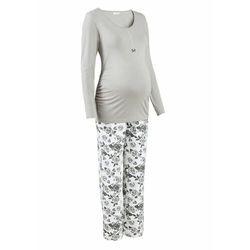 Piżama do karmienia piersią (2 części) bonprix szaro-biały z nadrukiem