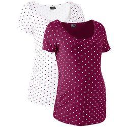 Shirt ciążowy z krótkim rękawem (2 szt.), bawełna organiczna bonprix jeżynowo-biały w groszki