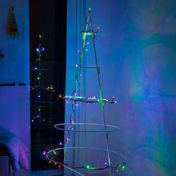 Łańcuch LED Mini kolor, 20-pkt., kabel ciemnoziel.