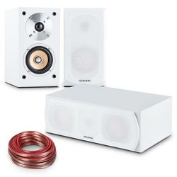 auna Linie-501 Zestaw kolumn głośnikowych 2x kolumna regałowa | centralna | kabel 10 m kolor biały