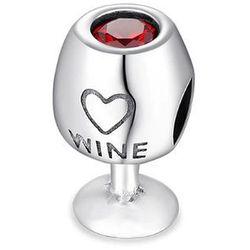 Rodowany srebrny charms do pandora kieliszek z winem wino wine srebro 925 BEAD32