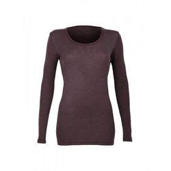 Koszulka damska z wełny merynosów (100%) - długie rękawy - kolor śliwkowy - DILLING