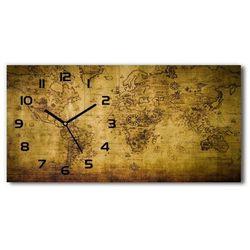 Zegar ścienny szklany Stara mapa świata