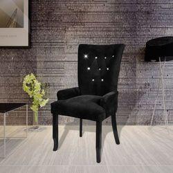 vidaXL Aksamitny fotel z drewnianą ramą, czarny Darmowa wysyłka i zwroty