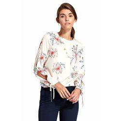 Bluzka z wycięciami na rękawach - kwiaty/ecru - B95