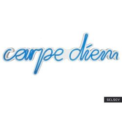 SELSEY Neon na ścianę Letely z napisem Carpe Diem niebieski