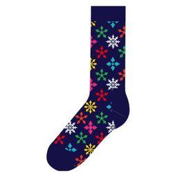 Skarpetki Happy Socks Holiday Singles Snowflake SNF01-6000 Płatki Śniegu - Granatowy