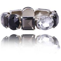 Bransoletka z kryształków w kolorach czarnym, szarym i przezroczystym