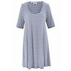 Tunika shirtowa, krótki rękaw bonprix niebieski indygo - kremowy w paski