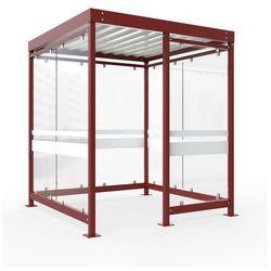 Zadaszenie z dachem stalowym,7 elementów szyb, lewa strona otwarta