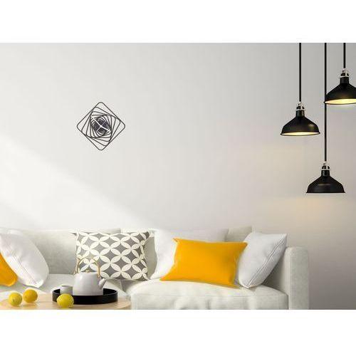Zegary, Drewniany zegar na ścianę Kwadratowe spirale ze złotymi wskazówkami