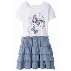 Sukienka shirtowa z falbanami bonprix biało-niebieski matowy