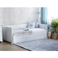 Łóżka, Łóżko wysuwane drewniane białe ze stelażem 90 x 200 cm CAHOR