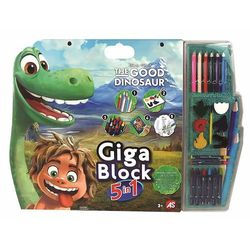 AS Company Giga blok - kolorowanka Dobry Dinozaur z kredkami, farbami i naklejkami
