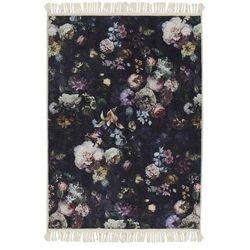 Dywan w kwiaty, dywanik w kwiatki, kilim w kwiaty, dywan granatowy, dywan do pokoju, dywan do salonu 120 x 180 cm, Essenza