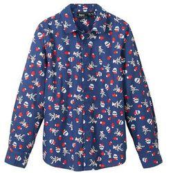 Koszula z długim rękawem i bożonarodzeniowym nadrukiem, Slim Fit bonprix kobaltowy z nadrukiem