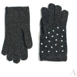 Grafitowe rękawiczki damskie z perłowymi koralikami - grafitowy SZALIKI, CZAPKI, RĘKAWICZKI (-20%)