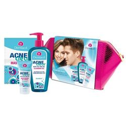 Dermacol AcneClear Cleansing Gel zestaw 200 ml Żel do demakijażu 200 ml + Nawilżający żel - krem 50 ml + Maseczka do twarzy 2 x 8 g + Kosmetyczka W