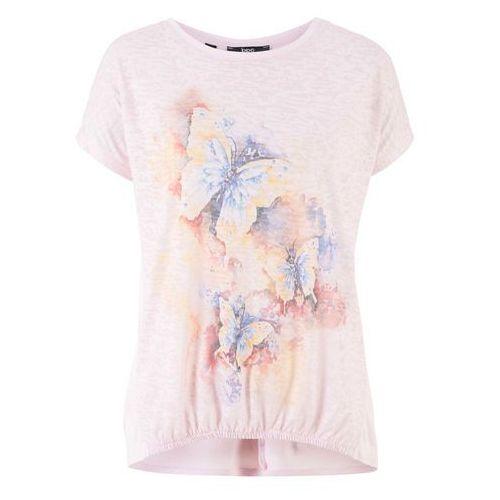 Bluzki, Shirt z gumką z przodu bonprix pastelowy jasnoróżowy z nadrukiem