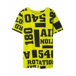 T-shirt chłopięcy z nadrukiem, bawełna organiczna bonprix limonka z nadrukiem