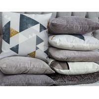 Poduszki, Poduszka dekoracyjna w prostokąty bawełniana szara 45 x 45 cm