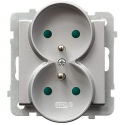 Gniazdo 2x2P+Z z przesłonami torów srebro mat GP-2RRZP/m/38 SONATA
