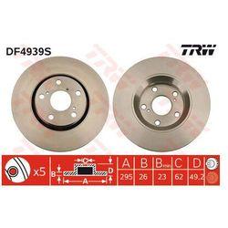 TARCZA HAM TRW DF4939S TOYOTA ALTIS 2.0D-4D 126KM 07-, AURIS 2.0D-4D 126KM 07-