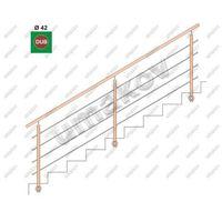 Przęsła i elementy ogrodzenia, Drewno DUB (OAK) BK- schodisko, v=90cm, L=300cm