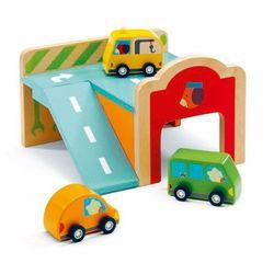 Drewniany Mini Garaż z autami Djeco DJ06387