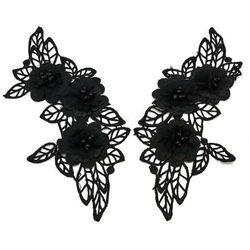 Naszywka komplet czarne kwiaty 22,5cm x max 10cm - CZARNE