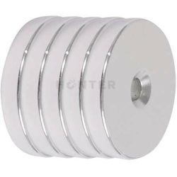 5 szt. - Magnes neodymowy 30x5 mm otwór 7,5/4,5mm pod wkręt