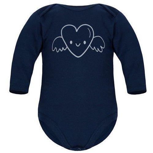 Body niemowlęce, Dziecięce body długi rękaw granatowe - Serce